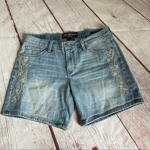 """Lucky Brand Embroidered """"Roll Up"""" Jeans Shorts"""